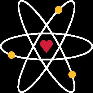 Farbige Elektronen umkreisen herzförmigen Atomkern