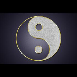 Yin und Yang Schriftzeichen Schmuck Poster
