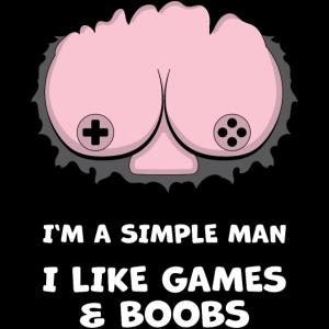 Einfacher Mann Gamer Games Titten lustig Geschenk