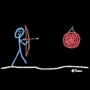 Bogenschießen, Strichmännchen Freizeit Sport Pfeil