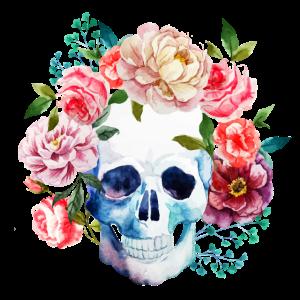 Totenkopf Blumen - Skull with Flowers