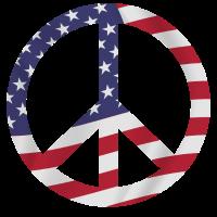 Peacezeichen mit amerikanischer Flagge Weltfrieden