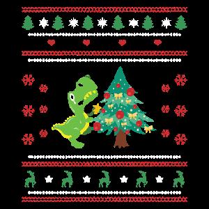 Ugly Christmas Dinosaurier Weihnachsstern Lustig