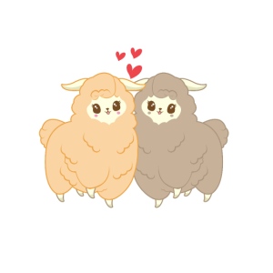 Süße verliebte Alpakas