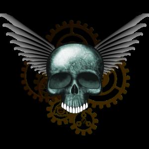 Steampunk Skull mit Fluegeln