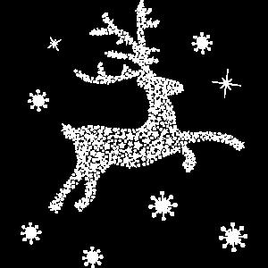 Hirsch Rentier Sterne Schneeflocken Weihnachten