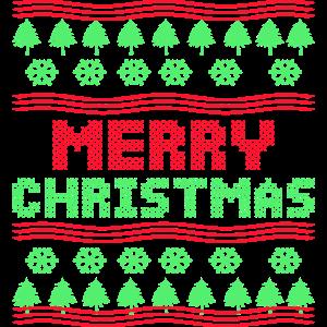 Merry Christmas Strickmuster Weihnachtsbaum Schnee