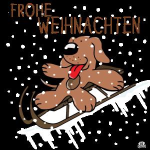 Frohe Weihnachten Hund Schlitten Geschenk