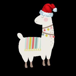 Lama Tier Weihnachtstag Wintersaison Santa