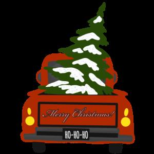 Roter Pick-Up mit Tannenbaum