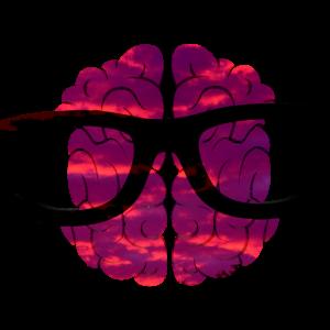 Intelligent Gehirn mit Brille Nerd
