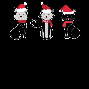 Weihnachtsschwarze Katze, die Santa Hat And Ribbon trägt
