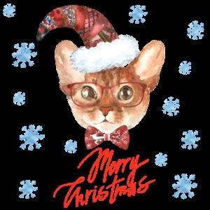 Christmas Cat süße Katze Weihnachten Geschenk Xmas