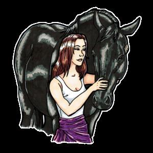 Pferde Liebe Frau mit Vollblutaraber Geschenk