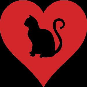 Katze Silhouette Herz Miau