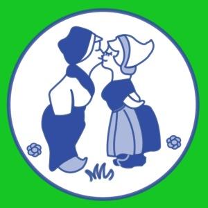 Delfts blauw kussende kinderen