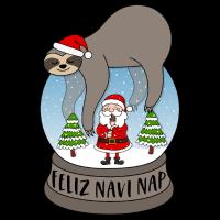 Faultier Schneekugel Spruch Feliz Navi Nap Santa