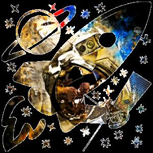 gxp Astronaut im Weltraum Spritzer Wasserfarbe