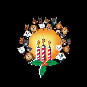 Adventskranz Hunde Katzen Katze Weihnachten Kerzen