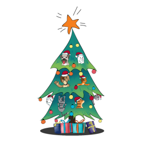 Katzen Katze Hunde Hund Weihnachtsbaum