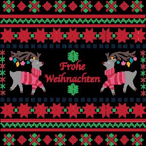 Frohe Weihnachten - Rentier - Strickmuster