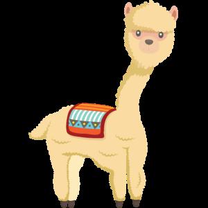 Alpaka - niedliches Tier mit Decke auf dem Rücken