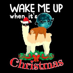 Cooles Lama Schlafendes Faultier Weihnachten Xmas
