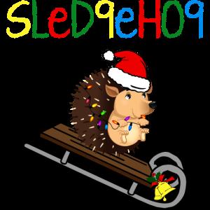 Igel-Weihnachtsschlitten-niedliches Tier
