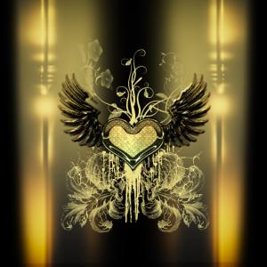 Wunderbares dekoratives Herz mit Flügeln.