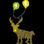 Cooles Rentier mit 2 Luftballons zum 2. Geburtstag