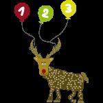 Cooles Rentier mit Luftballons zum 3. Geburtstag