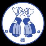 Delfts blauw kussende meisjes 22,5x22,5 cm png.png