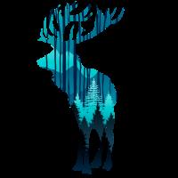 Elch in der Dämmerung in den Wäldern