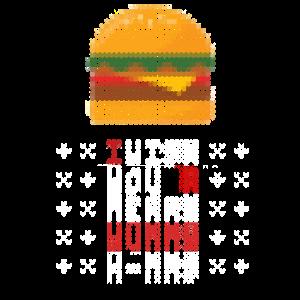 Hässlicher Weihnachts Strick Pulli mit Burger