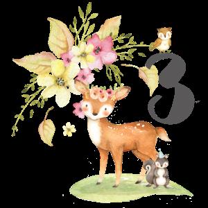3. Geburtstag für Kinder, drei, dritter, Waldtiere