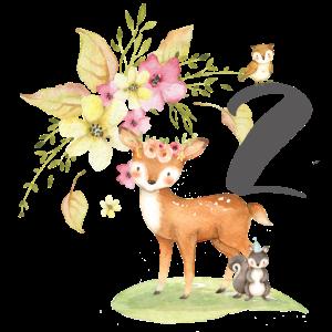 2. Geburtstag, zwei, zweiter, Birthday, Waldtiere