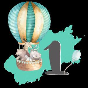 1. Geburtstag, eins, erster, Tiere Heißluftballon