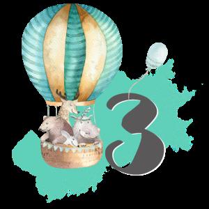 3. Geburtstag, dritter, drei, Heißluftballon Boho