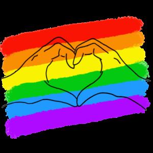 Pride LGBTQIA love is love heart hands