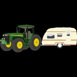 Traktor mit Wohnwagen Geschenk