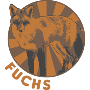 Fuchs Zirkus Style mit Schriftzug
