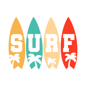 Retro Surfbrett Palmen Sonne Strand Geschenk