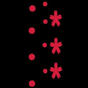 Schwarze Streifen und roten Punkten Blumen