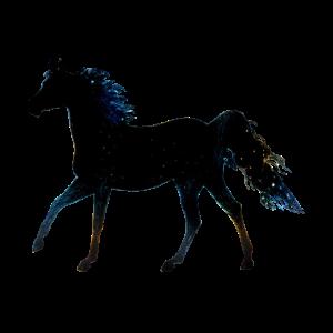 Putziges Pferd mit blauer Mähne