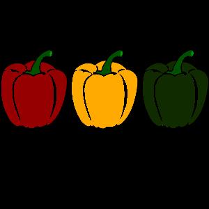 Paprika grün - gelb - rot