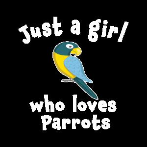 Süß Nur ein Mädchen, das Papageien liebt
