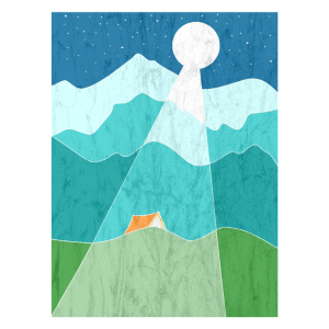 Zelten in den Bergen Nacht im Mondschein Geschenk