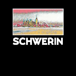 Schwerin Stadt Skyline Deutschland Kunst