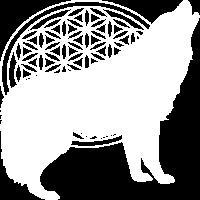 Blume des Lebens mit Wolf Motiv