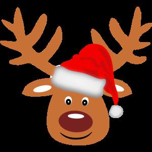 Rentier lustig Rudolph Weihnachten Weihnachtsmütze